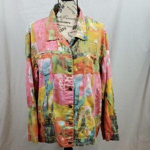 Chico's Design Denim Jacket/Pink/Size: Large (16)